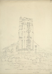 Pencil drawing of Beaminster Church tower, April 1814